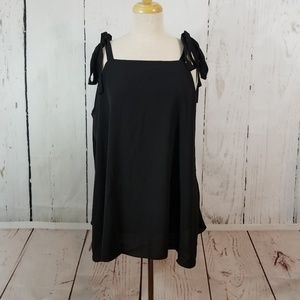 GLAMOROUS Tie Shoulder Plus Size Black Tank